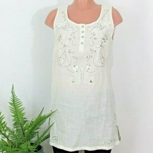 NWT Monoreno White Silver Beaded Tunic Top Dress